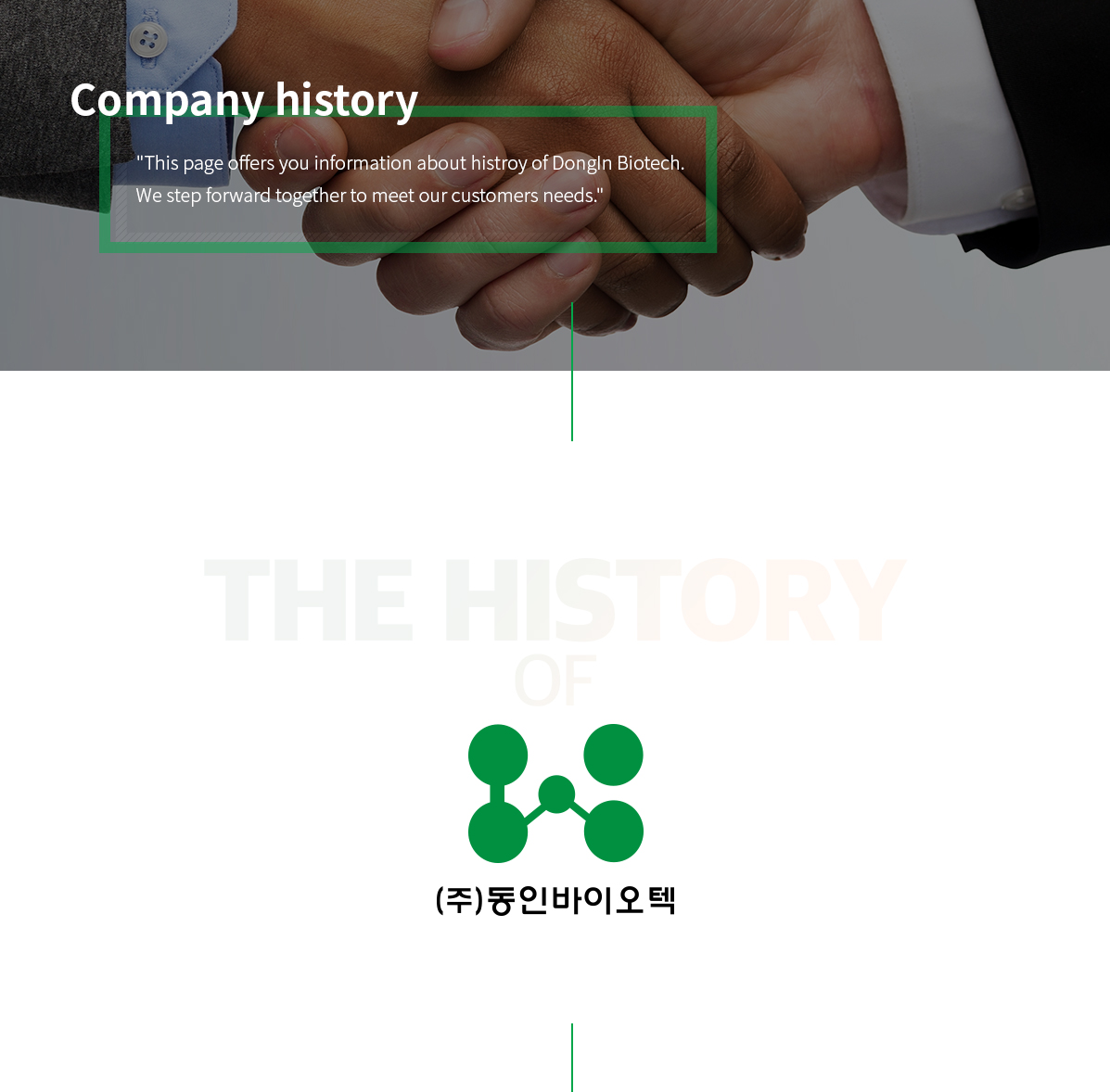 This page offers you information about histroy of DongIn Biotech. We step forward together to meet our customers needs.